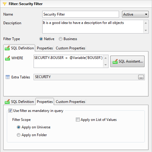 Business Objects Row Level Security Universe Filter
