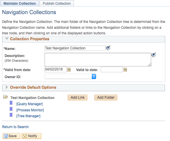 Configure Navigation Collection in PeopleSoft