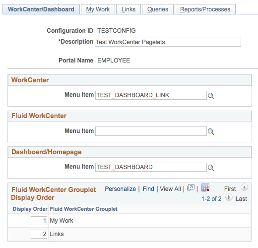 Configure WorkCenter Pagelets in PeopleSoft