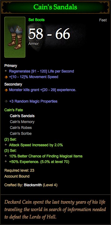 Diablo 3 Cain's Sandals