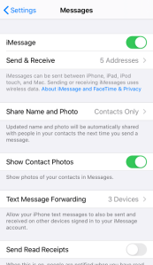 iOS Settings Messages